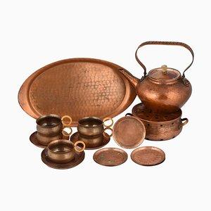 Vintage Copper Tea Set by Eugen Mint, Germany, 1960s, Set of 20