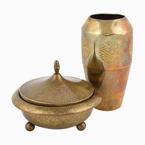 Jugendstil Brass Can and Vase from WMF, Germany, 1910s, Set of 2