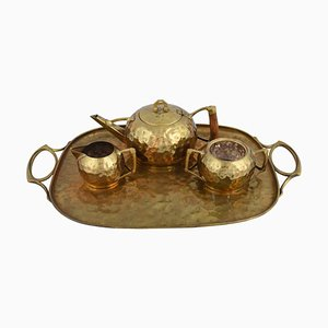 Jugendstil Brass Centrepiece & Tea Set with Tray by Carl Deffner, Germany, 1910s, Set of 4