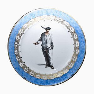 Antique Porcelain Pulcinella Plate