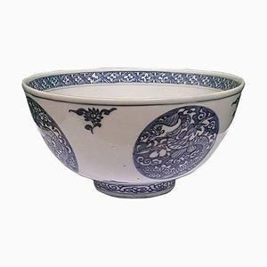 Antike Runde Chinesische Schale in Blau & Weiß