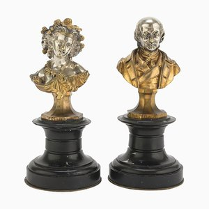 19th Century French School Beranger and Lisette Busts, Set of 2