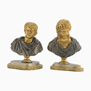 19th Century Italian School Bronze Busts, Set of 2