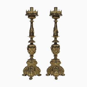 18th Century Italian Baroque Style Candleholders, Set of 2
