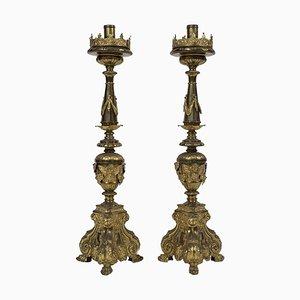Italienische Kerzenhalter im Barock-Stil, 18. Jh., 2er Set