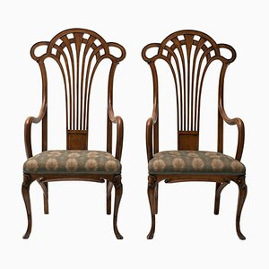 Antique Wooden Liberty Armchairs, Set of 2
