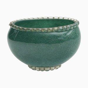 Vintage Murano Green Pulegoso Glass Bowl