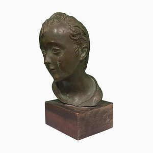 Antique Head of Young Boy Bronze Sculpture by Attilio Torresini, 1900s