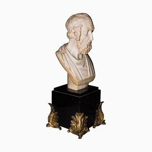Kleine Italienische Alabaster Skulptur von Homer, 19. Jh