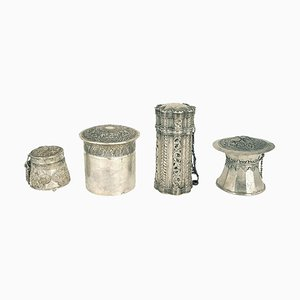 Vessels with Indonesian Lids in Repoussé Silver, Set of 4