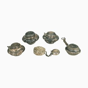 Vessels with Indonesian Lids in Repoussé Silver, Set of 5