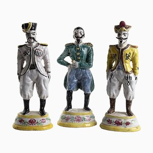 19th Century Italian Borbonic Officers Sculptures, Set of 3