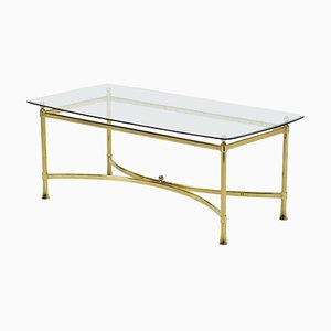 Vintage Golden Brass Coffee Table, Italy, 1950s