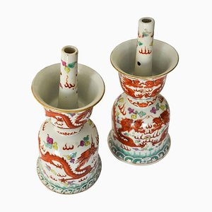 Chinese Altar Candlesticks, Set of 2