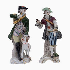 Polychrome Porcelains Hunters from Real Fabrica Napoli, 1800s, Set of 2