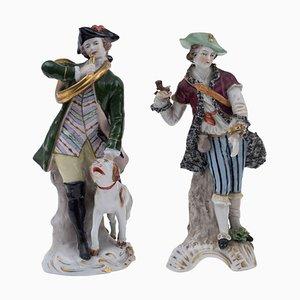 Polychrome Steingut Jäger von Real Fabrica Napoli, 1800er, 2er Set