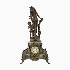 Horloge Antimoine et Onyx 19ème Siècle, France