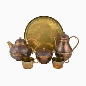 Vintage Brass & Copper Centrepiece and Tea Set by Harald Buchrucker, 1950s, Set of 6