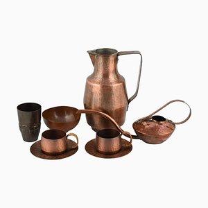 Vintage Copper Set by Eugen Zint, Germany, 1960s, Set of 8