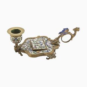 Emaillierter französischer Kerzenhalter aus dem späten 19. Jahrhundert von Alphonse Giroux et Cie