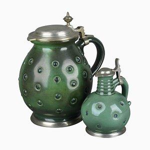 Grüne Vintage Krüge von Eugen Weidmann, 1950er, 2er Set