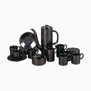 Vintage Black Coffee and Tea Set by Hedwig Bollhagen, Germany, 1961, Set of 17