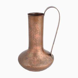 Vintage Kupfer Vase Krug mit Griff von Eugen Zint, 1950er