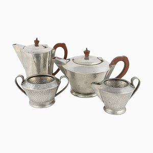 Vintage Art Deco Centerpiece & Tea Set by Lloyd, Payne & Amiel, England, 1930s, Set of 4