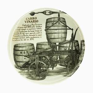 Carro Vinario Plate by Piero Fornasetti for Martini & Rossi, 1960s