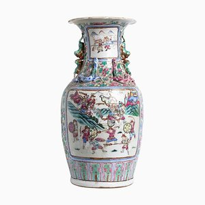 Antique Chinese Qing Dynasty Balustrade Porcelain Vase