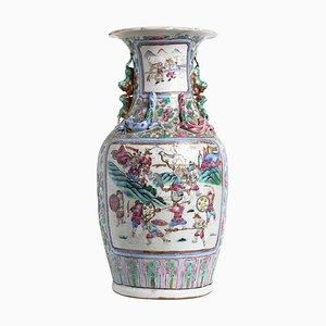 Vase Antique en Porcelaine de la Dynastie Qing, Chine