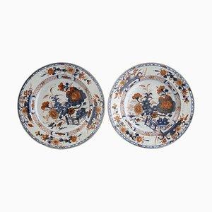 Plats Style Imari en Porcelaine Style Chinois de la Dynastie Qing, Set de 2