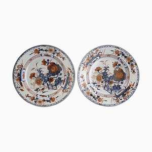 Qing Dynasty Chinese Imari Style Porcelain Dishes, Set of 2