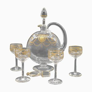 Vintage Art Deco Carafe, Candy Jar & Glasses with Decorations in Gold, Set of 5