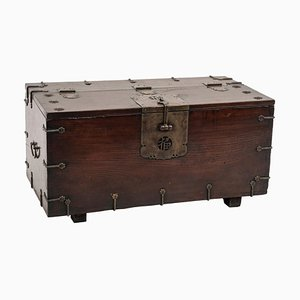 Vintage Chinese Wooden Chest with Decorations and Bronze Lock