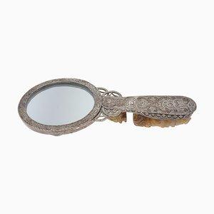 Chinesischer Silberner Vintage Spiegel