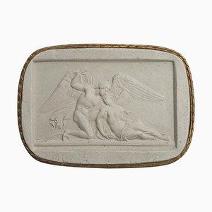 Antiker Italienischer Amulett aus Biskuitporzellan und Psyche Kamee