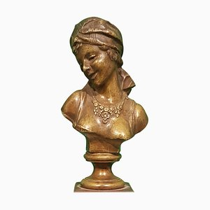 Small Antique French Bronze Bust of Odalisque with Red Marble Base