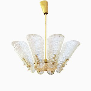 Vintage Ice Glass Chandelier from Kalmar