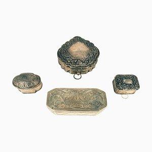 Indonesische Vintage Gefäße mit Silberdeckeln, 4er Set