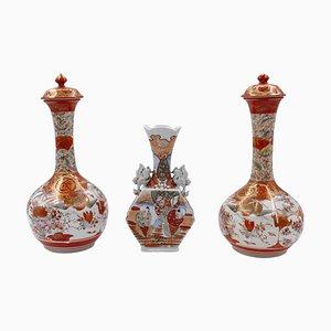 19th-Century Japanese Kutani Vases, Set of 3