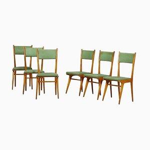 Grüne Italienische Vintage Stühle, 1950er, 6er Set