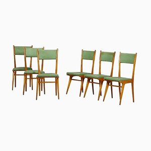 Vintage Italian Green Chairs, 1950s, Set of 6