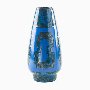 Mid-Century German Blue Vase from Strehla
