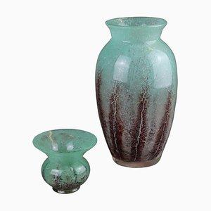 Ikora Vasen aus Grünem Glas, 1930er, 2er Set