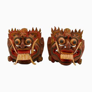 Indonesian Kumba Karna Masks, Set of 2