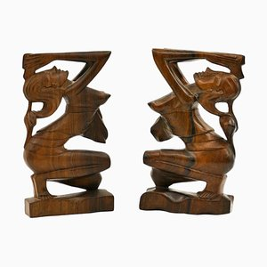 Vintage Indonesian Rosewood Sculptures, Set of 2