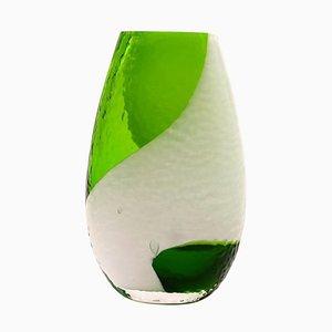 Grüne böhmische Glasvase, 1960er