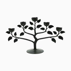Mid-Century Black Iron Floral Candleholder
