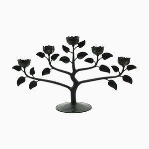 Mid-Century Kerzenhalter aus schwarzem Eisen in Blumen-Optik